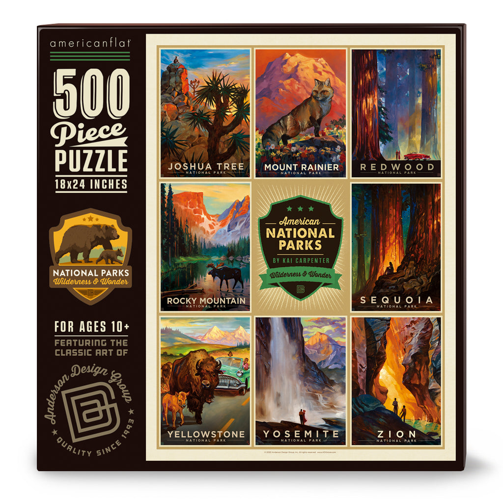 500-Pc. Puzzle: National Parks by Kai Carpenter, Joshua Tree-Zion (Bargain—50% OFF!)