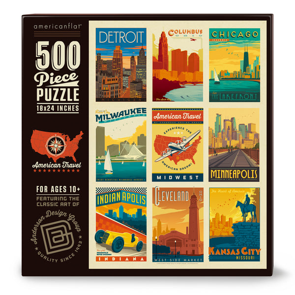 500-Pc. Puzzle: American Travel: Mid-West (Bargain—35% OFF!)