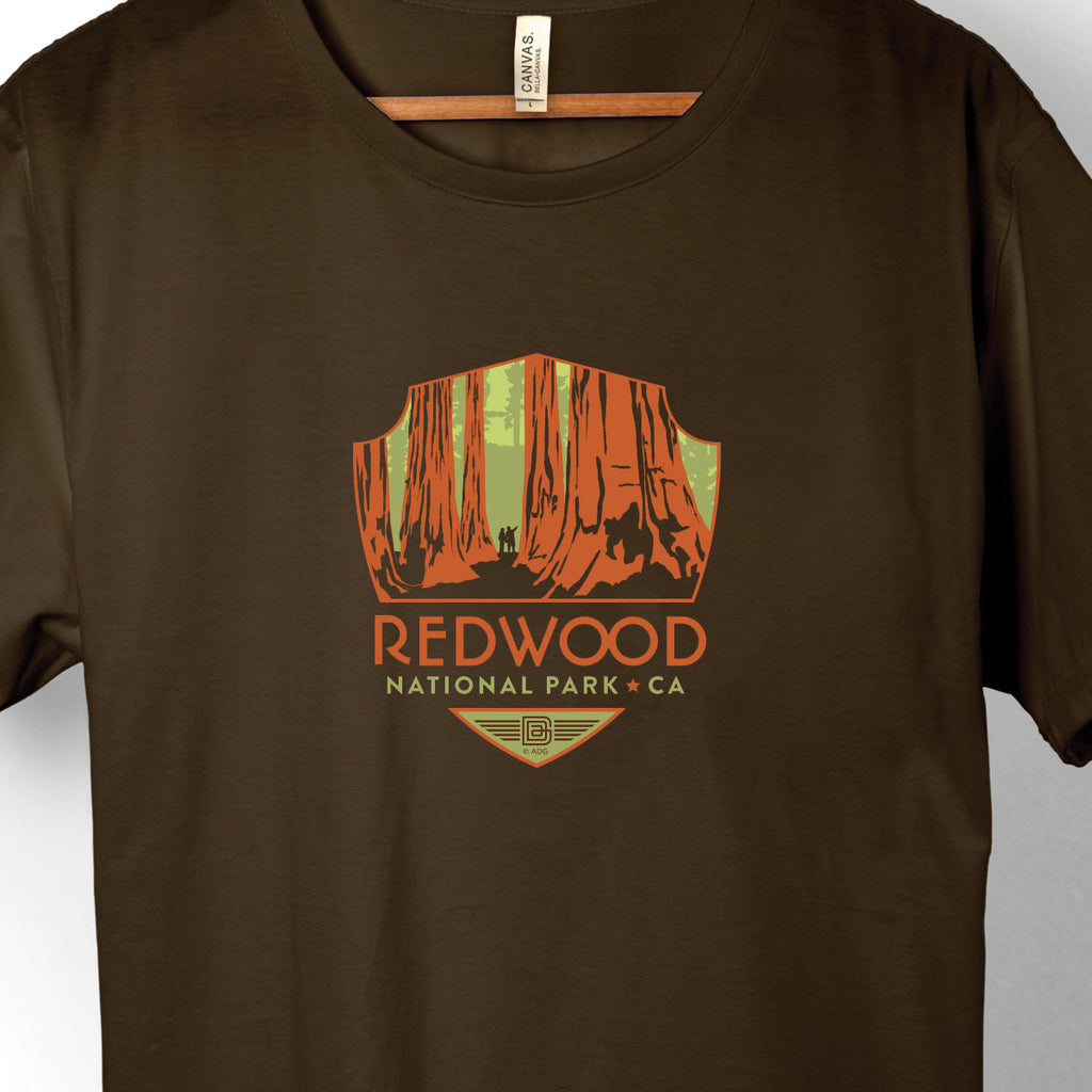Redwood National Park on Unisex Brown T-shirt