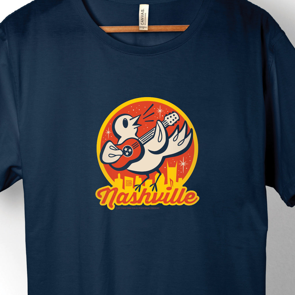 Nashville Songbird on Unisex Navy Blue T-shirt