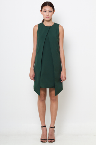 Forest Green Asymmetric Layer Shift Dress