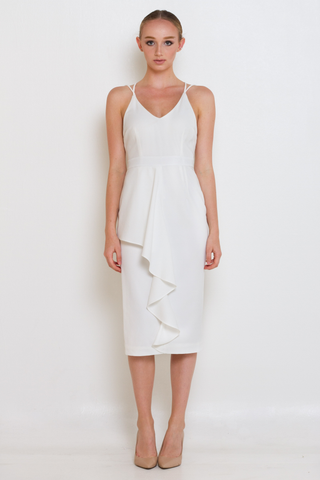White Plunge Strap & Frill Midi Dress, Dress, MECS label, MECS label