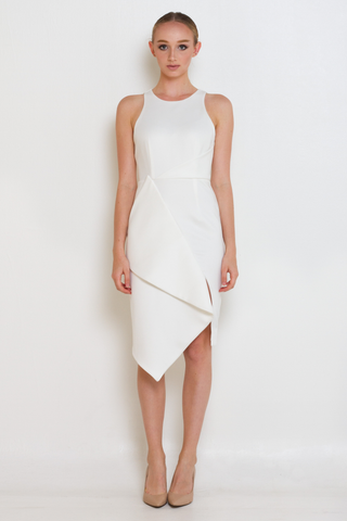 White Asymmetric Slit Hem Midi Dress, Dress, MECS label, MECS label