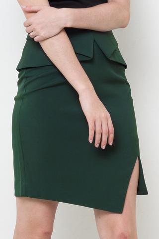 Forest Green Front Slit Origami Fold Skirt