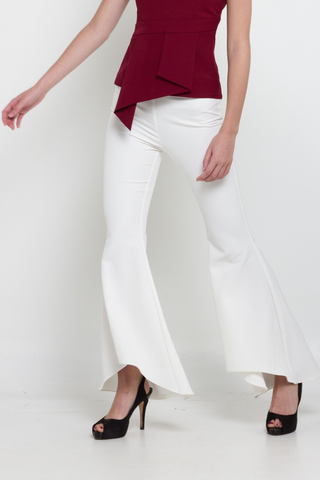 White High-Low Bell Open Trousers, Bottom, MECS label, MECS label