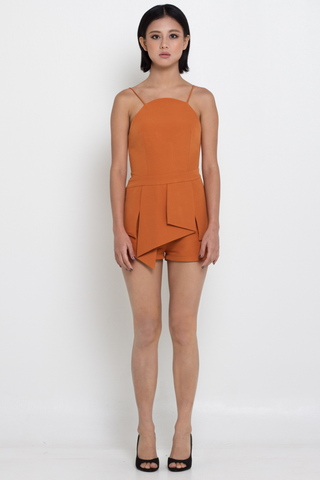 Tangerine Asymmetric Pleated Fold Romper, Jumpsuits & Rompers, MECS label, MECS label