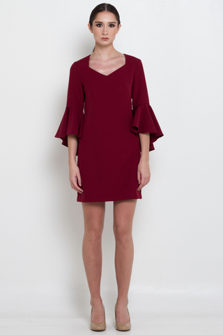 Burgundy Bell Sleeved Shift Dress, Dress, MECS label, MECS label