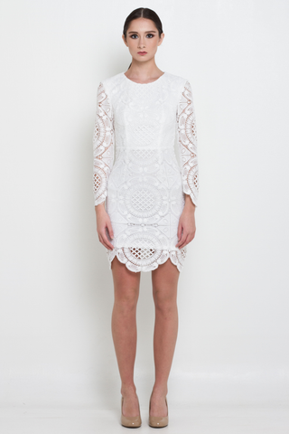 Premium White Open Back Mini Lace Dress, Dress, MECS label, MECS label