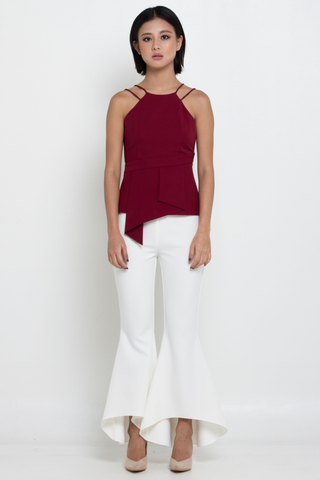 Rosewood Double Straps Asymmetric Pleated Fold Top, Top, MECS label, MECS label