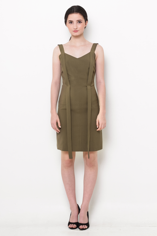 Olive Green Pinafore Bodycon Dress