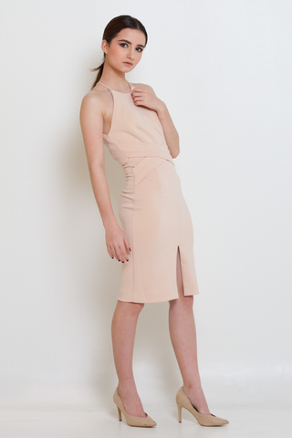 Peach Nude Wrap Front & Keyhole Back Dress, Dress, MECS label, MECS label