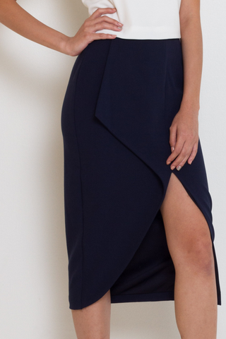 Navy Blue Angular Fold Slit Skirt, Bottom, MECS label, MECS label