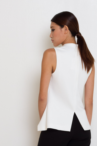 White High Neck Cut Detail Top, Top, MECS label, MECS label
