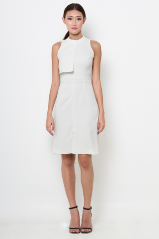 White High Neck Front Overlap Midi Dress