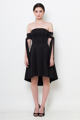 Black Tie-Sleeve Flare Dress