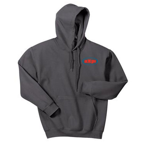 Blended Hooded Sweatshirt in Charcoal - Embroidered