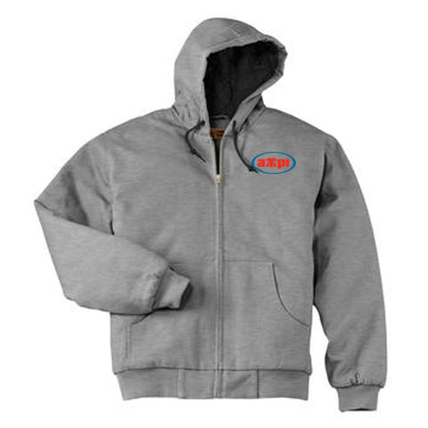 Heavyweight Full-Zip Hooded Sweatshirt with Thermal Lining in Athletic Heather
