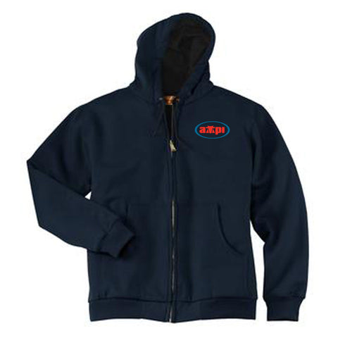 Heavyweight Full-Zip Hooded Sweatshirt with Thermal Lining in Navy