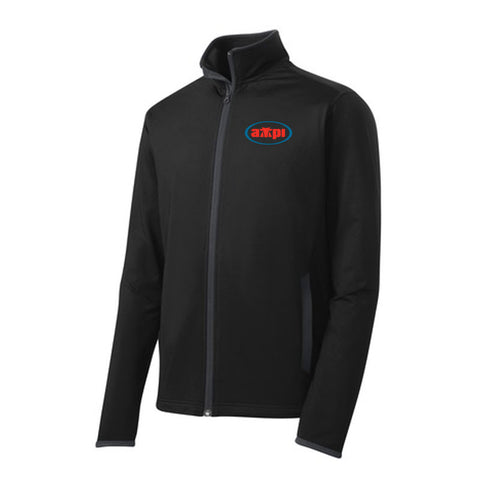 Men's Stretch Contrast Full-Zip Jacket in Black/Charcoal