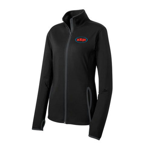 Ladies Stretch Contrast Full-Zip Jacket in Black/Charcoal