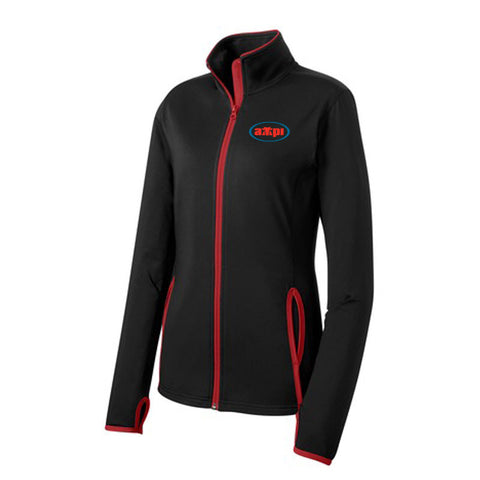 Ladies Stretch Contrast Full-Zip Jacket in Black/Red