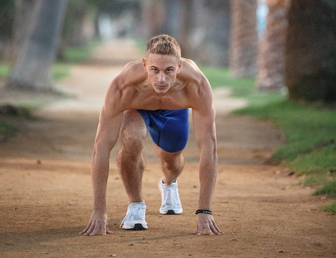 Man getting ready to run for a cardio workout