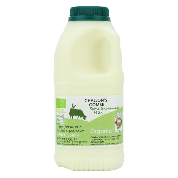 challons combe semi skimmed milk 1 pint