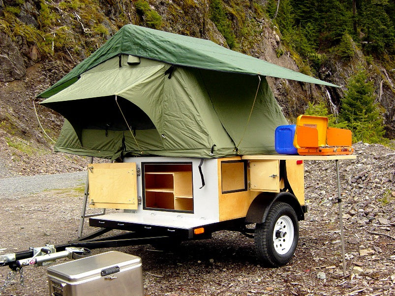 Explorer Box Camping Trailer DIY Compact With Roof Top Tent Open