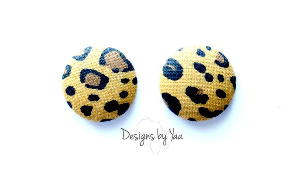 Small Cheetah Button Earrings