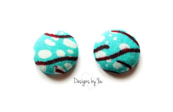 Small Blue Lagoon Button Earrings