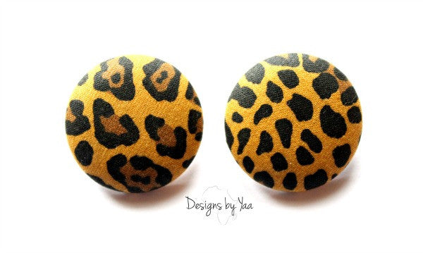 Large 'Cheetah' Button Earrings