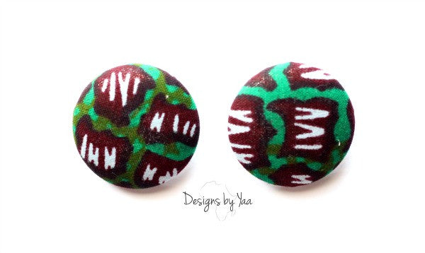 Large 'Green Patch' Button Earrings