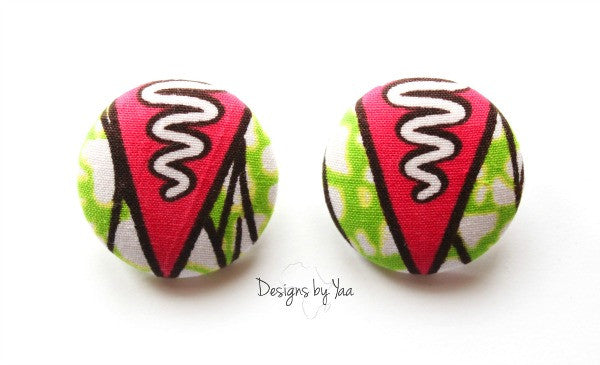 Large 'Pink Arrow' Button Earrings