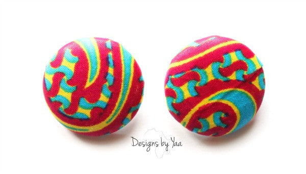 Large 'Pink Fusion' Button Earrings
