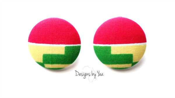 Large 'Pink Kente' Earrings