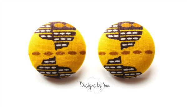 Large Yellow Button Earrings