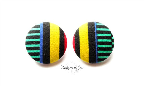 XL Ankara Button Earrings