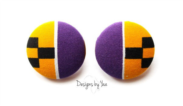 XL Purple Kente Button Earrings