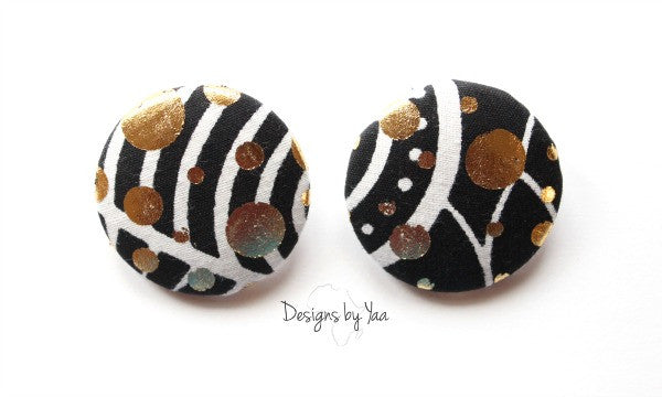 XL Gold Dusted Monochrome Button Earrings