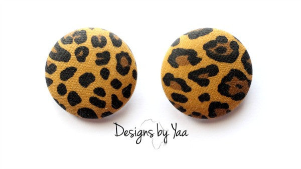 XL Cheetah Button Earrings