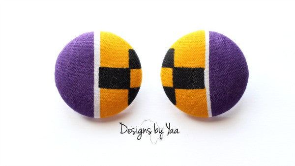 Large 'Purple Kente' Earrings