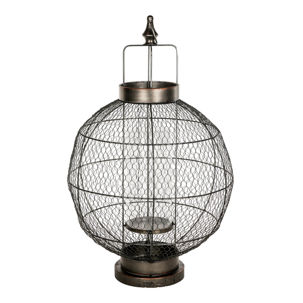 fabric metal lantern round open with handle L