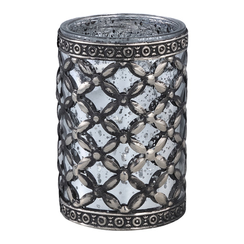 Enes silver Glass tealight Antique pattern round
