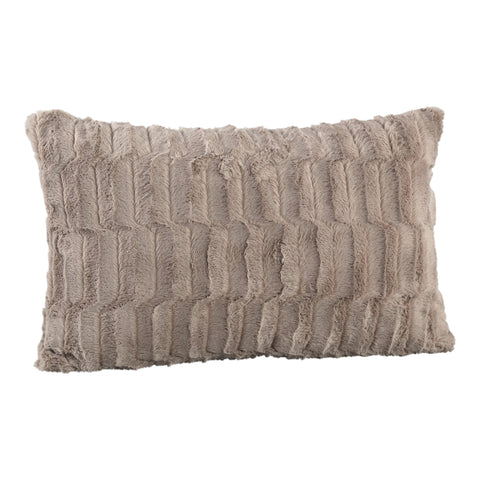Denzy taupe Faux fur cushion rectangle wave patter