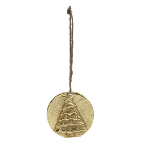 Christmas alu gold hanging coin with tree