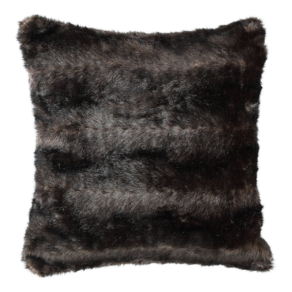 Noud dark brown Faux fur cushion square