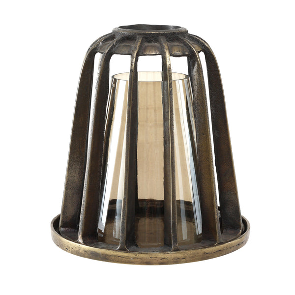 Zeph brass Iron lantern Luster Glass small top
