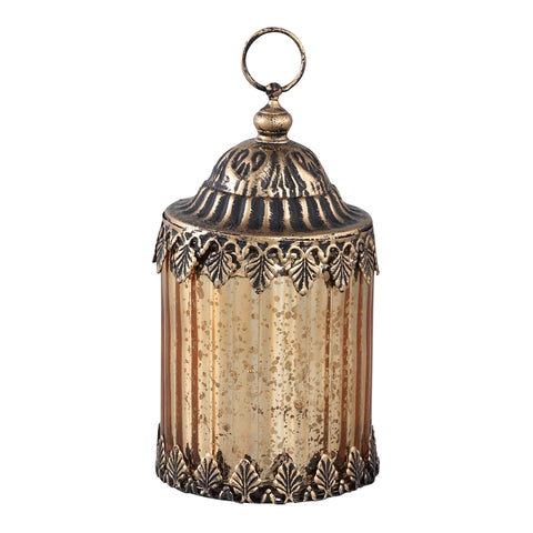 Estee gold Glass lantern LED ribbed round right