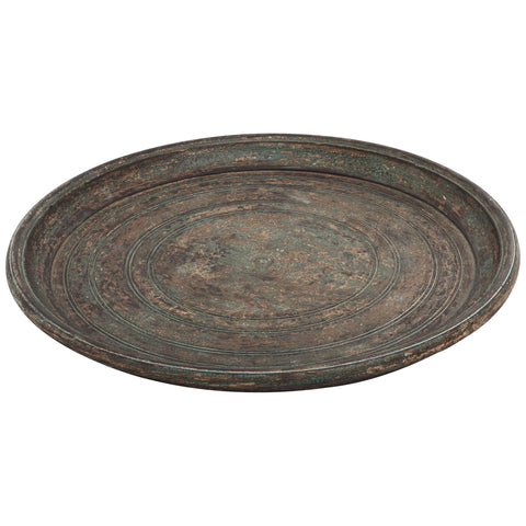 Madera brown Antique MDF round tray