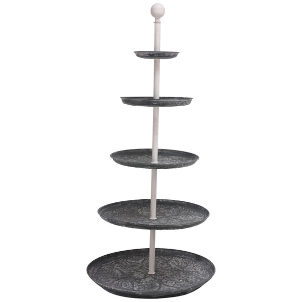 Flourish grey and white zinc round etagere